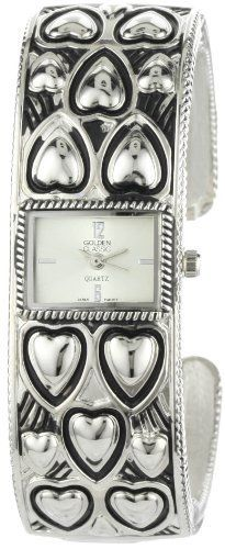"""Golden Classic Women's 2235-silver """"Love Flair"""" Classic Metal Engraved Hearts Bangle Watch Golden Classic. Save 45 Off!. $18.15. Highest standard Quartz movement. Silver dial with silver Arabic numerals; Silver minute and second hand. Detailed silver rectangle bezel. Silver metal band with engraved hearts; Bangle clasp. Water-resistant to 99 feet (30 M)"""