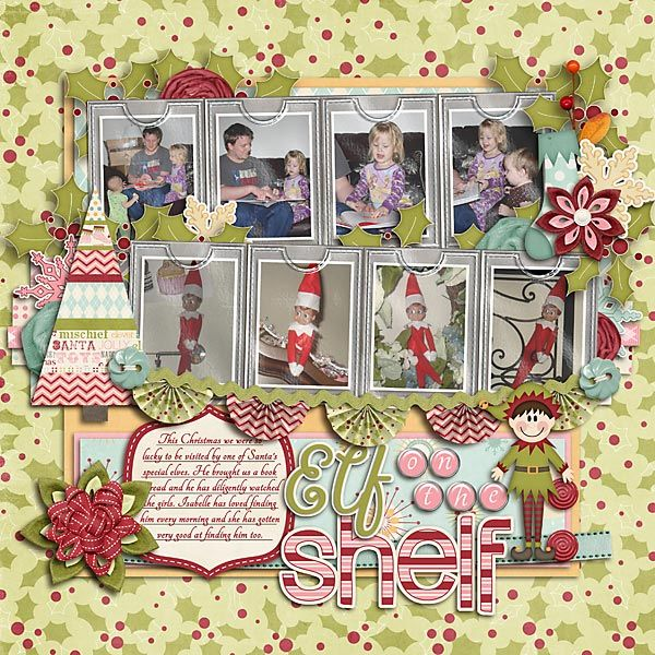 Elf on the Shelf: Christmas Scrapbook, Shelf Scrapbook, Scrapbook Layout, Shelf Ideas, Shelf Lo, Shelf Elf, Elf On The Shelf, Elf Mad, Holidays Wint Scrapbook
