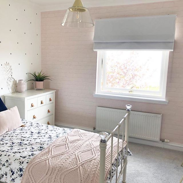 Real Rooms Absolutely Loving This Colour Scheme Not Too Girly By Adding The Grey And Playing Wit Pink Bedroom Walls Brick Wallpaper Bedroom Wallpaper Bedroom