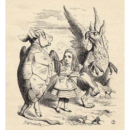 Alice With The Gryphon And The Mock Turtle Illustration By John Tenniel From The Book Alicess Adventures In Wonderland By Lewis Carroll Published 1891 Canvas Art - Ken Welsh Design Pics (28 x 30)