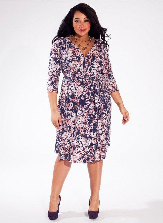 Dominique Plus Size Dress in Indigo Flower