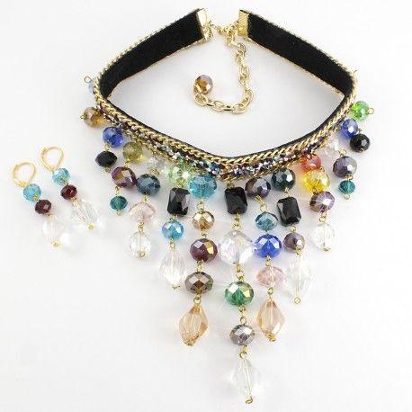 Juego Collares Aretes  Maxicollares Gargantilla Choker Necklace Cristales facetados de colores Chapa de oro Lindas Joyas Bisuteria de moda