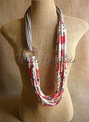 Love this DIY fabric necklace instead of a bulky scarf!