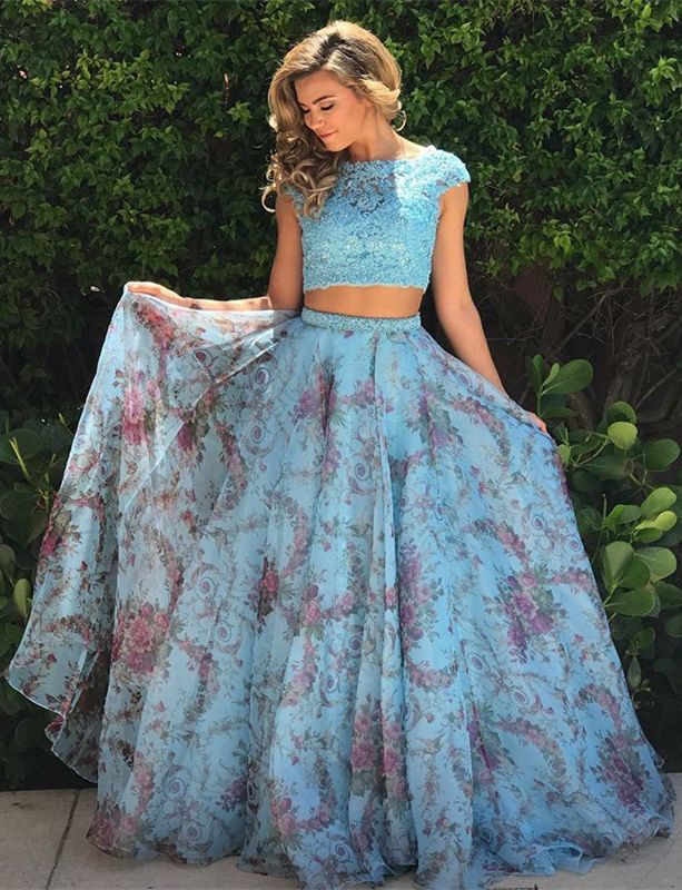 modest two piece blue long prom dresses, unique floral party dresses with lace, chic 2 piece cap sleeves evening gowns