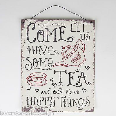 Med 19x24cm Metal Retro Vintage Kitchen Sign - Come Let Us Have Some Tea Plaque in Home, Furniture & DIY, Home Decor, Plaques & Signs | eBay