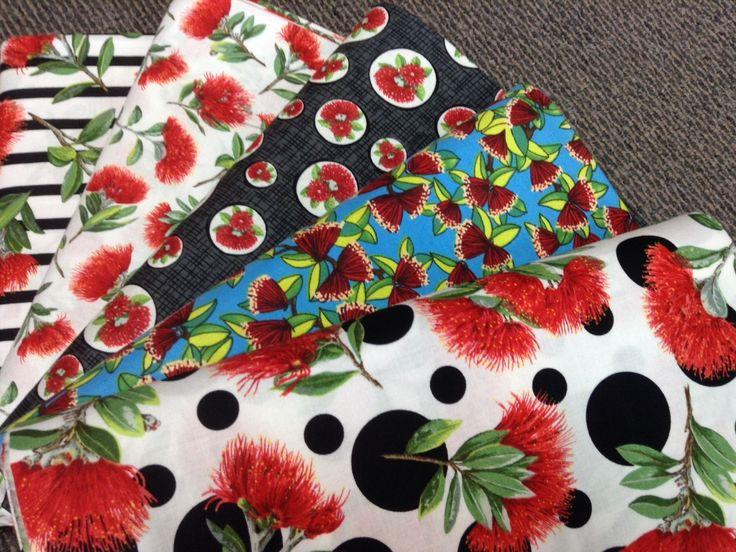 NZ themed 100% cotton quilting fabric. Pohutukawa prints.