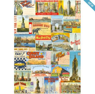 New York City Postcards - wrapping paper from Cavallini & Co. Available at Bobangles.