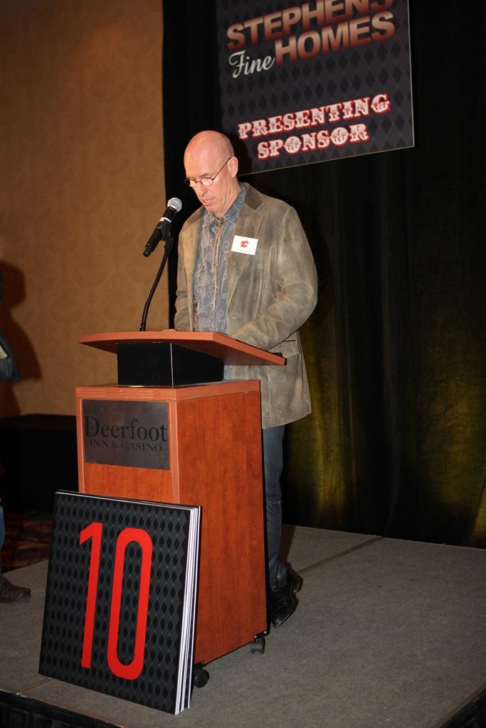 Flames alumnus Jim Peplinski kicks things off at the 2013 Texas Hold 'Em Tournament, benefiting the Flames Foundation!