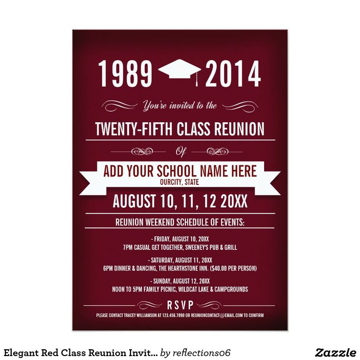 Elegant Red Class Reunion Invitations                                                                                                                                                                                 More