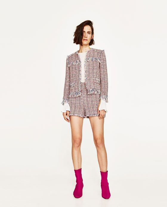 ZARA - WOMAN - TEXTURED WEAVE CARDIGAN WITH FRAYED DETAIL
