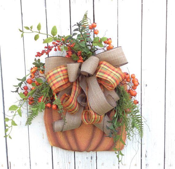 Burlap Pumpkin door hanger,Fall Door Hanger,Burlap Pumpkin Wreath Fall Pumpkin Door Hanger, Fall Wreath Alternative, Burlap Fall Door Hanger