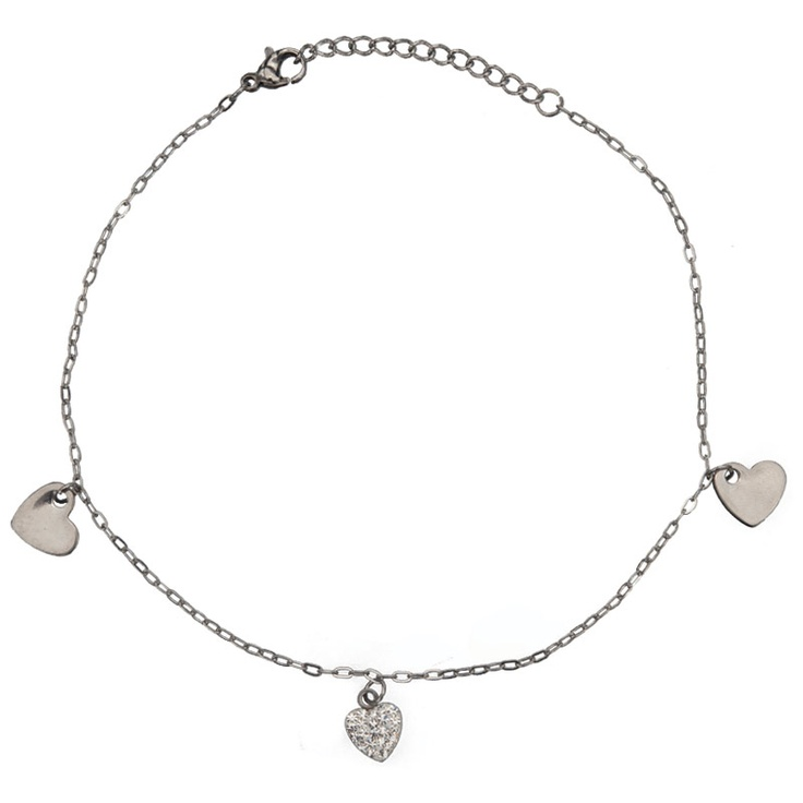 Women's Stainless Steel Anklets with Dangling Two Steel and a Crystal Hearts #womensjewelry #jewelry #stainlesssteel #anklets #summer