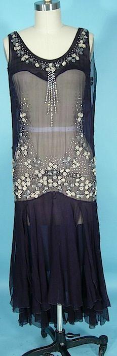 c. 1927/1928 Beautifully Beaded Navy Silk Chiffon Flapper Dress with Open Scarf Skirt