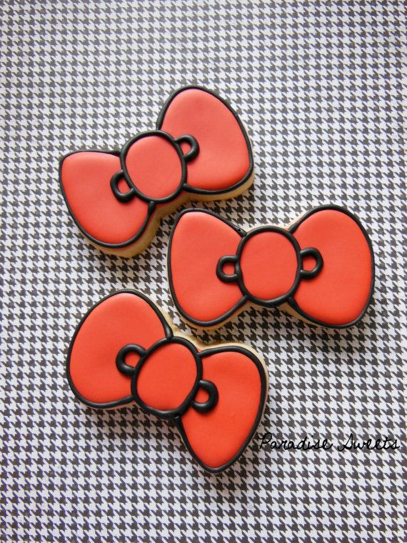 Hello Kitty bow cookies by Paradise Sweets on Etsy