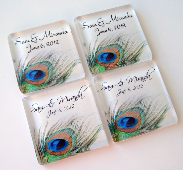 Items Similar To Pea Feather Wedding Favors Favor Magnets 50 Personalized 1 Inch Gl Squares On Etsy