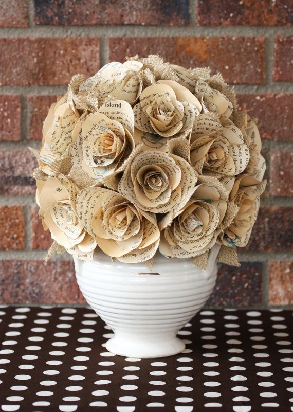 Vintage Book Paper Roses Centerpiece As PrEtTy As A by HiButterfly, $50.00