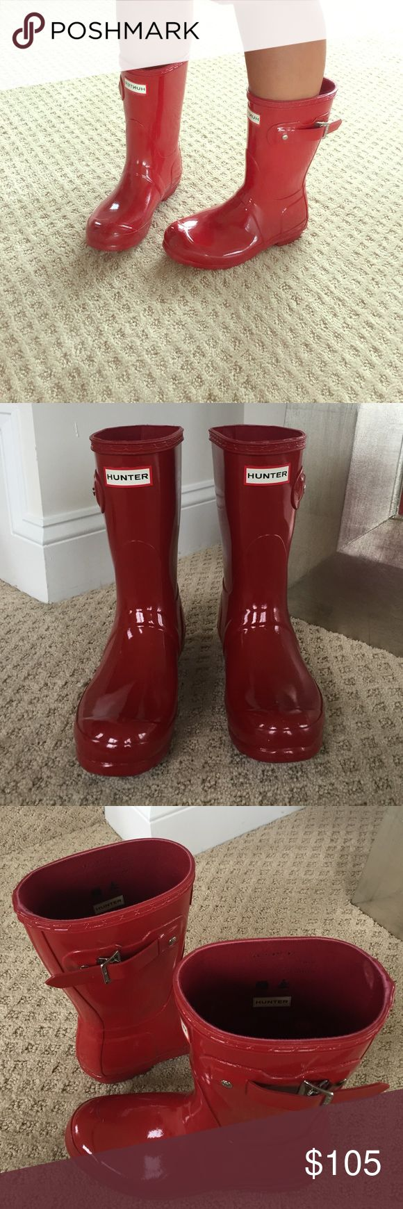 HUNTER BOOTS Short Red Wellies Rainboots Used once. Practically new. No box. Size 6 US. Hunter Boots Shoes Winter & Rain Boots