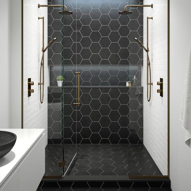 Black White And Gold Black Tile Bathrooms Bathroom Layout
