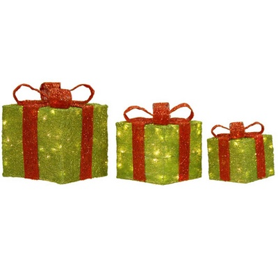 raz lime green lighted christmas present decoration set of 3 - Lighted Christmas Presents