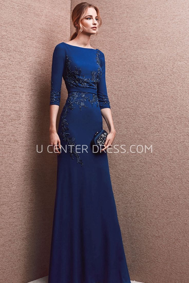 $150.89-Classy Lesley Blue Jewel Neck Sheath Evening Gown with Short Sleeves. http://www.ucenterdress.com/lovely-lesley-prom-dress-pMK_301645.html.  Shop for affordable evening gowns, prom dresses, white dresses, party dresses for women, little black dresses, long dresses, casual dresses, designer dresses, occasion dresses, formal gowns, cocktail dresses . We have great 2016 Evening Gowns on sale now. #evening #gowns