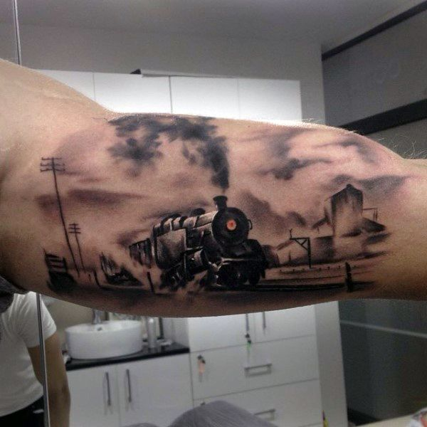 Train Road Rail Vehicle Tattoos For Men