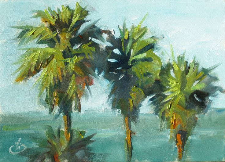 445 best art tropical images on pinterest landscape for Painting palm trees