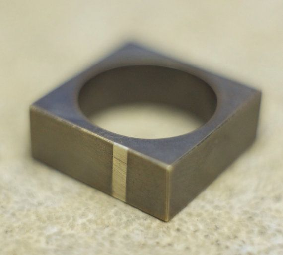 Brass and Sterling Silver Minimalistic Square Ring by ||WILDHORN|| jewelry