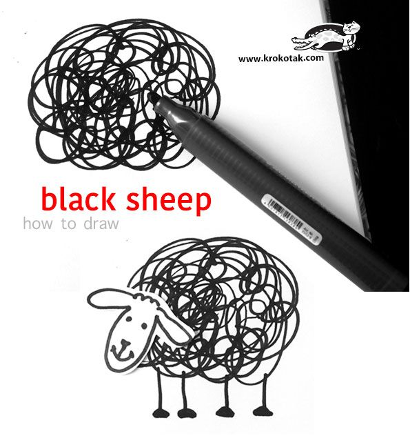 How to draw black sheep