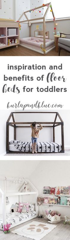 intrigued by the idea of a floor bed for your toddler's bedroom? this post has inspiration and the benefits of floor beds!