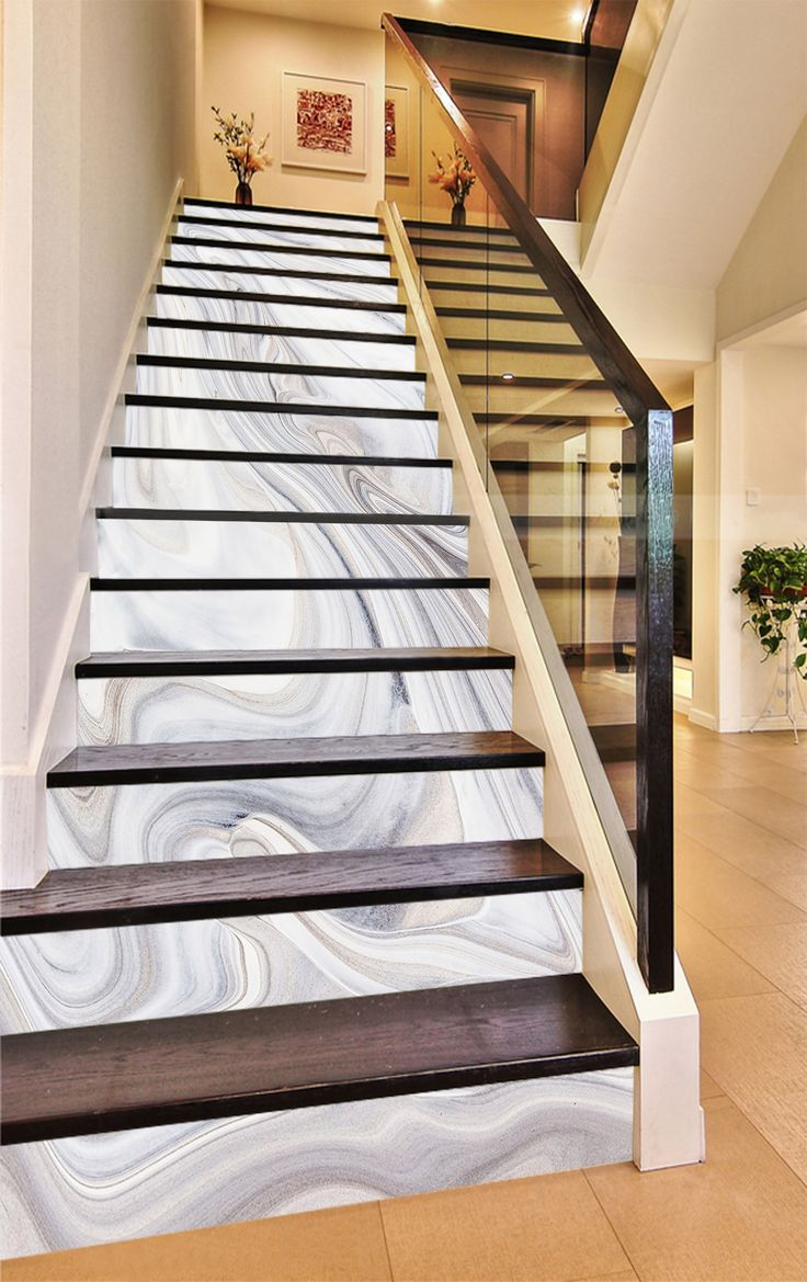 3D White Swirl 65465 Marble Tile Texture Stair Risers