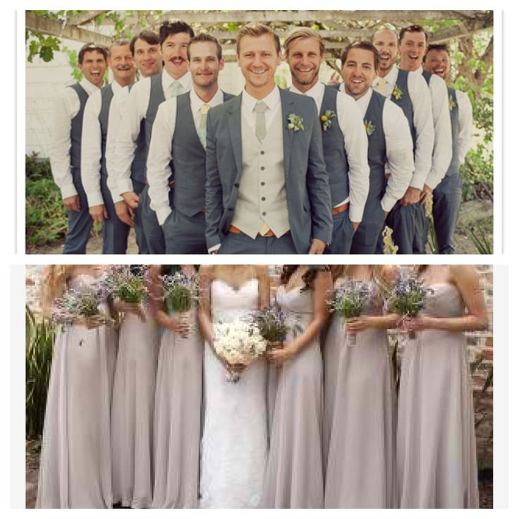 Now that's a good looking wedding party - I love grey & nude together! #CupcakeDreamWedding