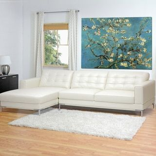 Babbitt Ivory Leather Modern Sectional Sofa - 14272376 - Overstock.com Shopping - Big Discounts on Baxton Studio Sectional Sofas