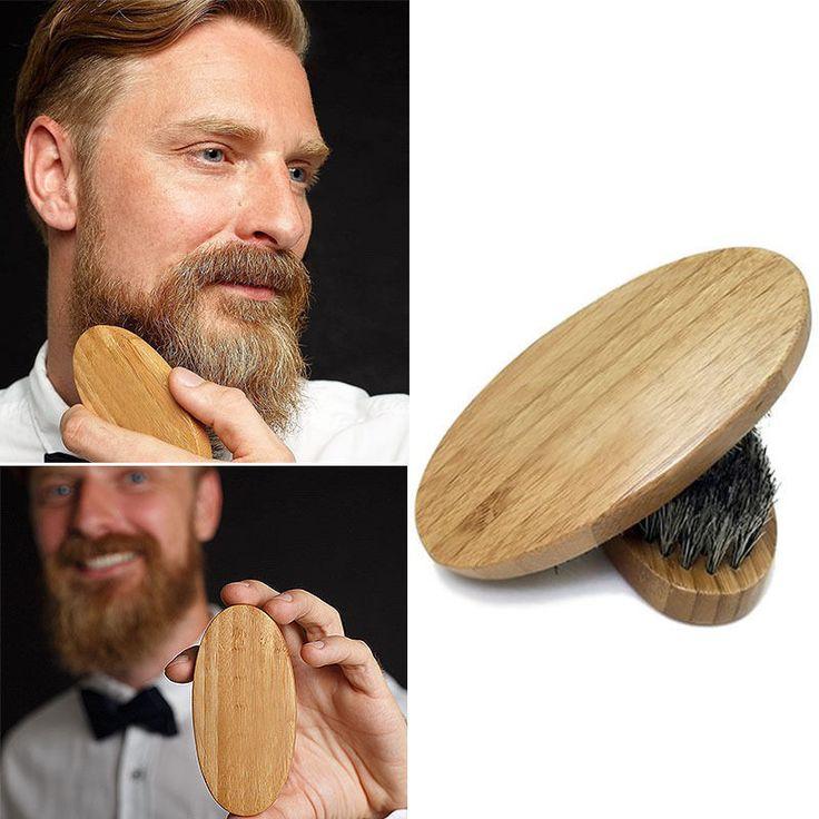 Natural Boar Bristle Beard Brush Mustache Military Round Wood Handle