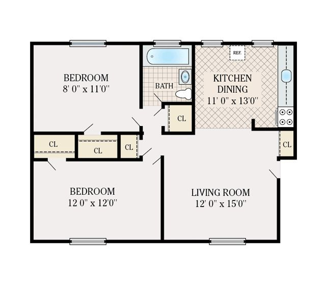 2 Bedroom 1 Bathroom 700 Sq Ft Floor Plans In Law House House Flooring