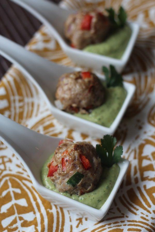 #paleo PaleOMG Southwest Meatballs with Creamy Cilantro Avocado Dipping Sauce