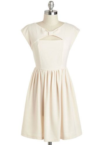 Brioche Bread Pudding Dress - Short, Cream, Solid, Bows, Cutout, A-line, Cap Sleeves, Daytime Party