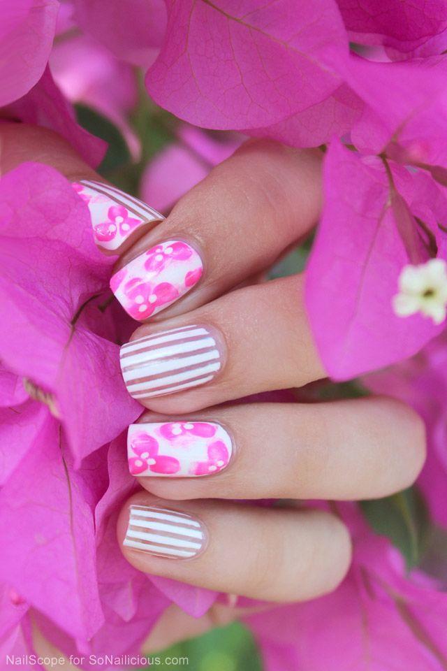 Mix'n'Match Floral nail art tutorial: http://sonailicious.com/pink-floral-nail-art-tutorial/