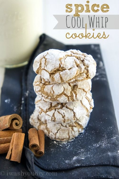 Spice Cool Whip Cookies...I like quick & easy & these fill the bill!!! Four ingredients...count 'em...FOUR! Cake mix, Cool Whip, an egg & powdered sugar! Yup, I'm happy!  :-)