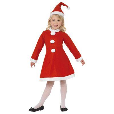 Voordelig kerst outfit voor meisjes. Dit leuke kerstjurkje voor meisjes bestaat uit een rood jurkje met lange mouwen en een kerstmuts. De kleuren van de jurk en kerstmuts is rood met witte randen. Dit kerst jurkje is verkrijgbaar in verschillende maten. Kerst kostuums bij Fun en Feest #kerstjurkjes