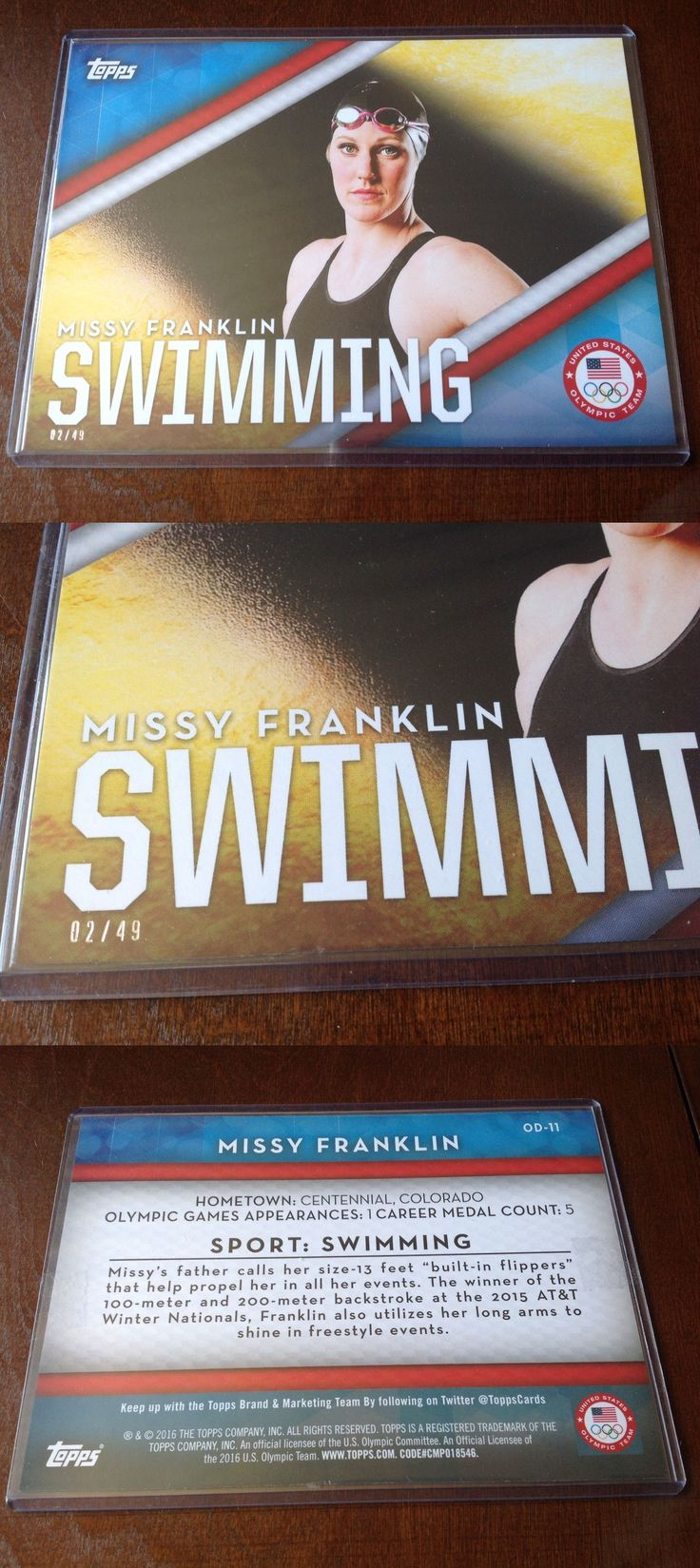 Olympics Cards 2956: 2016 Topps Jumbo Missy Franklin Ser # D 2 49 Olympics 5X7 Large Card Swimming -> BUY IT NOW ONLY: $49.99 on eBay!