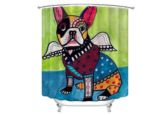 50 Off French Bulldog Angel Shower Curtain Dog Shower Curtain