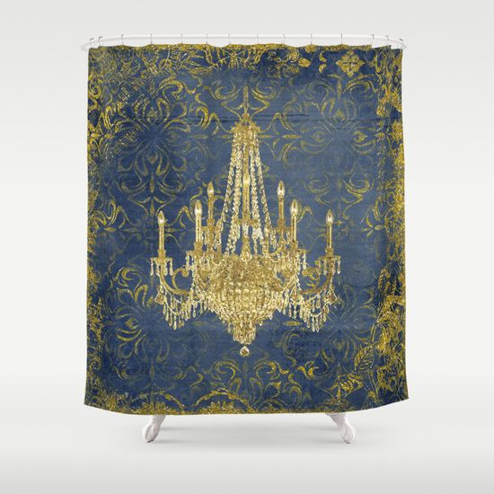 Gold Navy Shower Curtain, Glam Bathroom, Chandelier, Victorian - Top 25+ Best Navy Shower Curtains Ideas On Pinterest Nautical