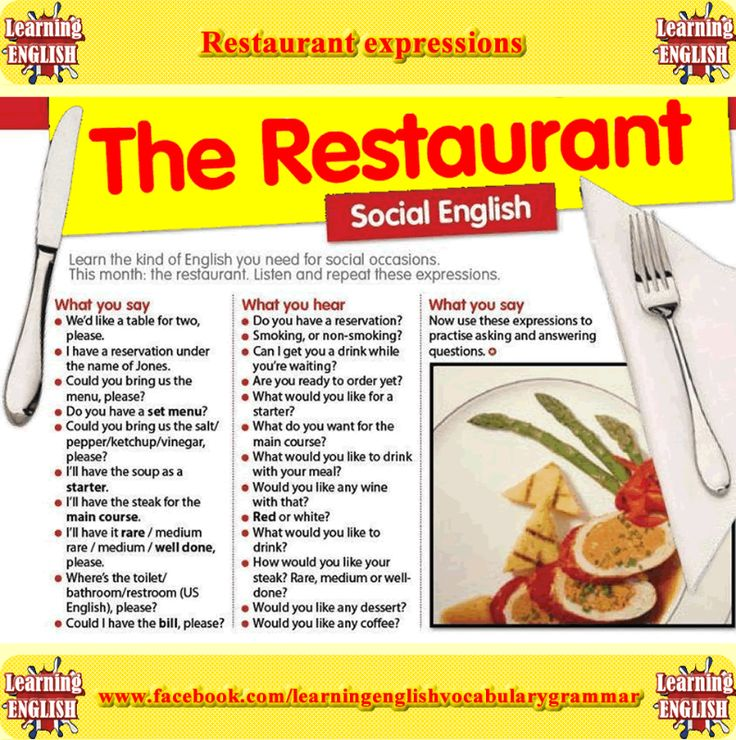 English phrases to use at a restaurant - Speak Languages