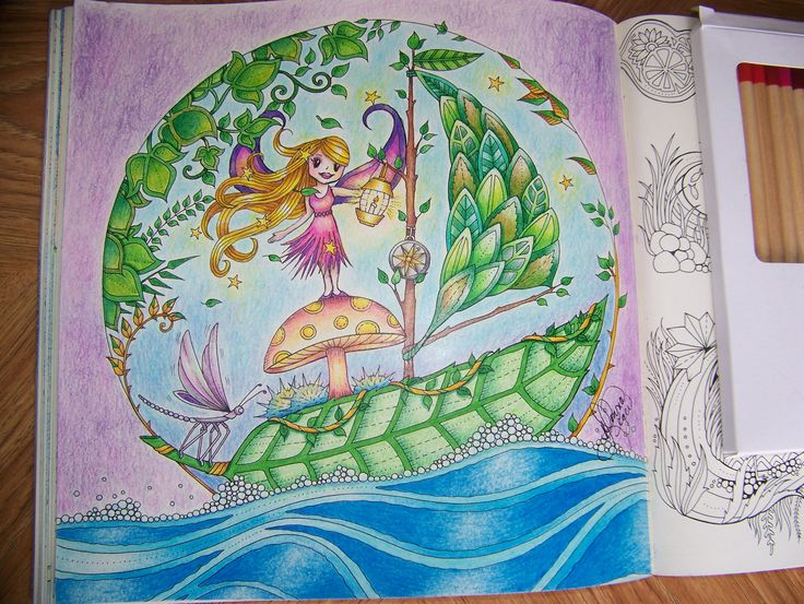 From The Enchanted Forest Johanna Basford Adult Coloring Book Boat Leaf On Water