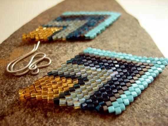 Beaded Earrings. Beadwork Earrings. Brick Stitch Earrings