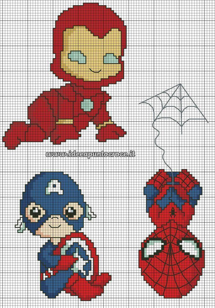 Héroes de Marvel en hama beads o punto de cruz