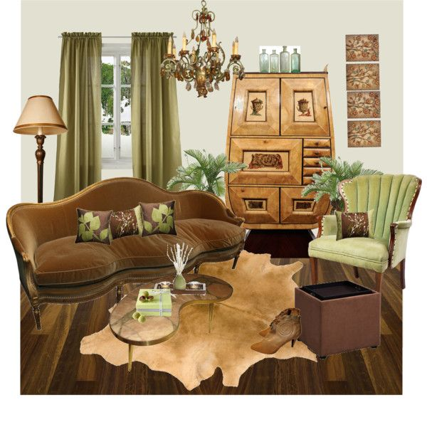 Green brown living room created by meggiechelle for Green and brown living room