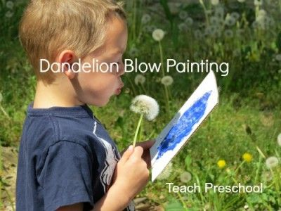 Dandelion blow painting.  Cardboard + Paint + Glue ---> go for a walk to find dandelions and blow them onto the paint.