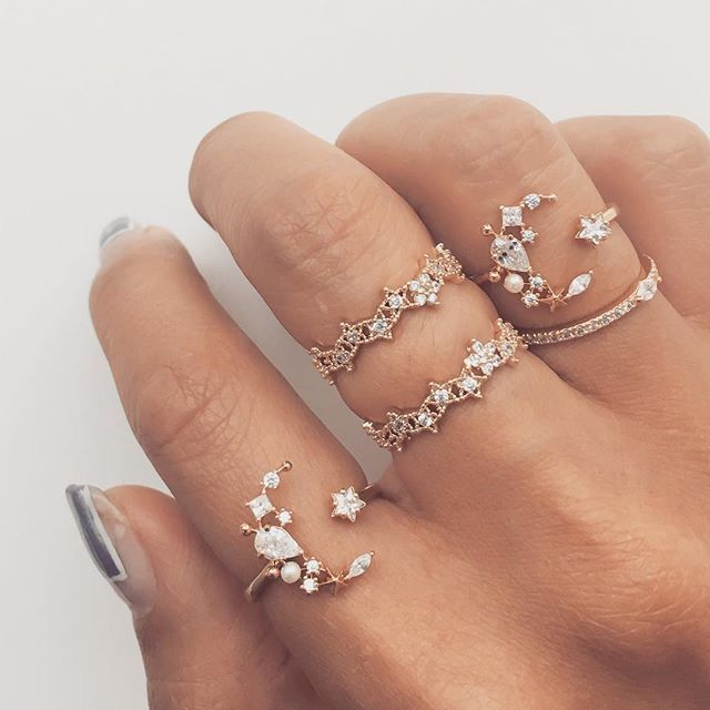 Pretty dreamer rings | cute jewelry | moon sparkle | star shine | bright twinkle | fashion | style | finger dress up.