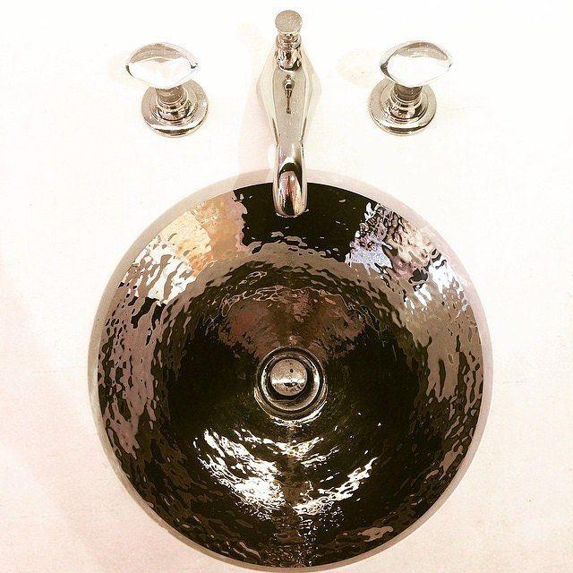 Credit: @ninatakesh  Basin Luxury - hand hammered polished nickel sink. #trichovedicmood #hairwisdom #trichovedic #luxuryhaircare #bathroomdesign #bathroominspo